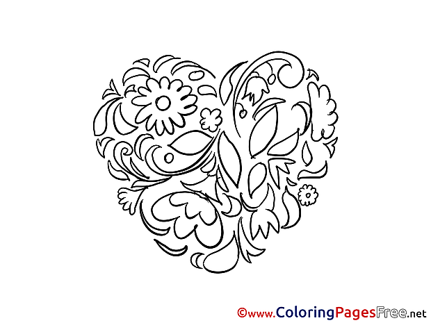 Flowers Heart Coloring Pages Valentine's Day for free