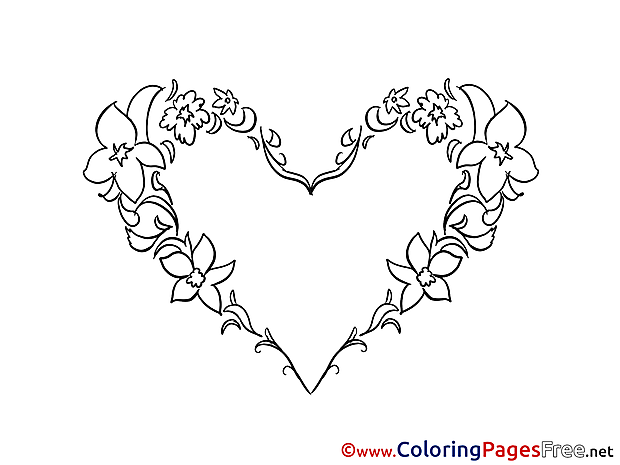 Flowers Heart printable Valentine's Day Coloring Sheets