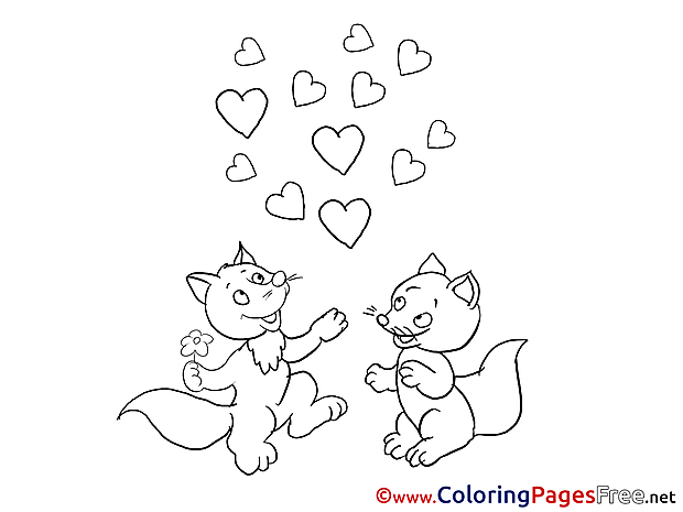 Foxes Hearts Coloring Pages Valentine's Day for free