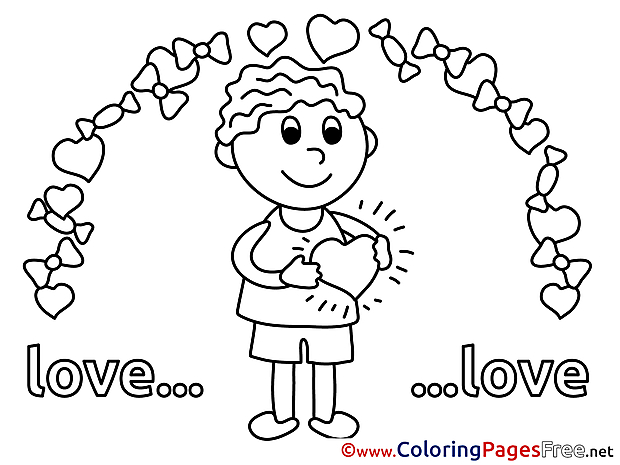 Free Boy Love Colouring Page Valentine's Day