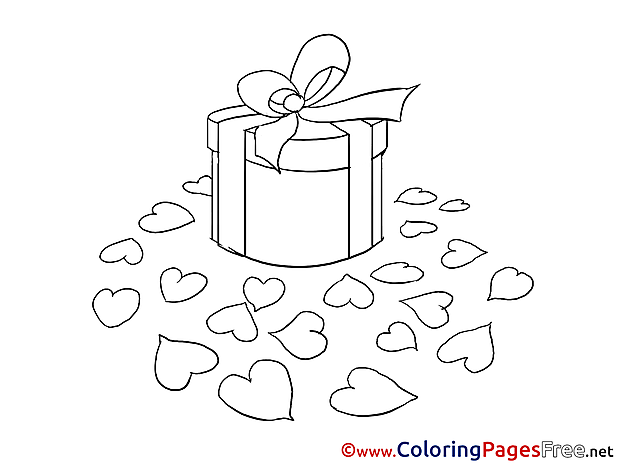 Gift Hearts Colouring Page Valentine's Day free