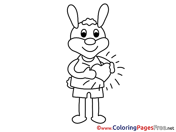 Hare Heart for Kids Valentine's Day Colouring Page