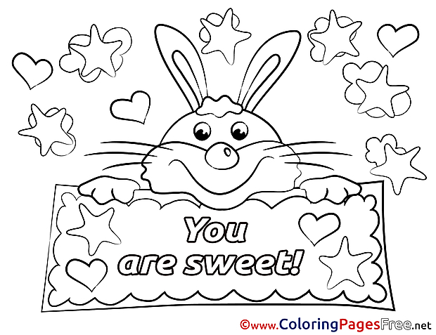 Hare You Are Sweet Kids Valentine's Day Coloring Page