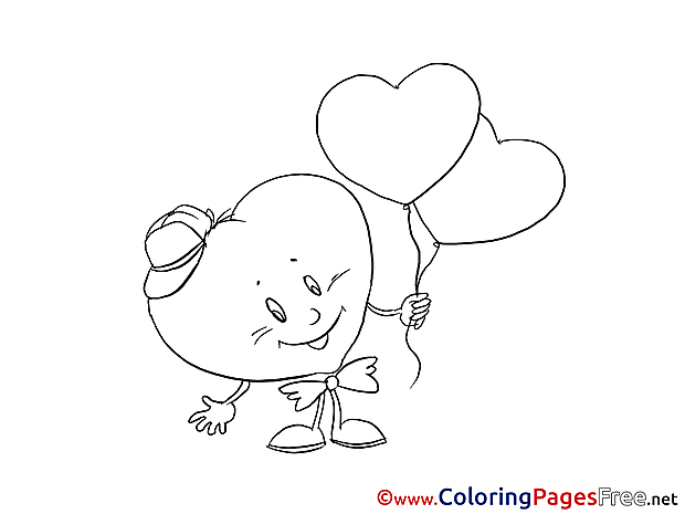 Holiday Balloons Heart Valentine's Day Coloring Pages