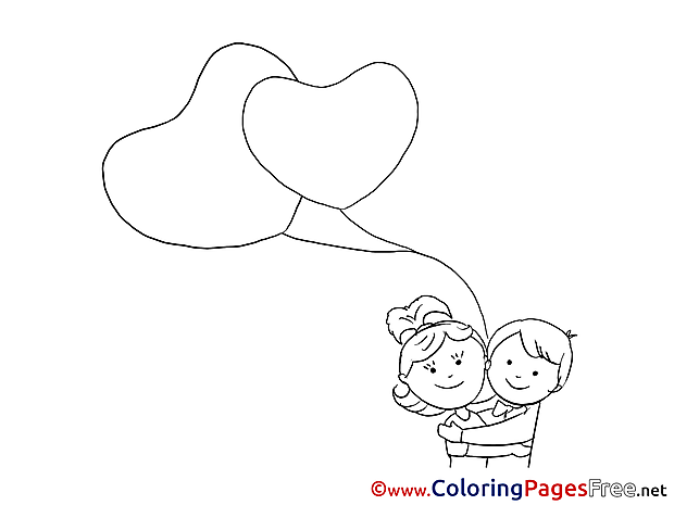 Huging Children Valentine's Day Colouring Page