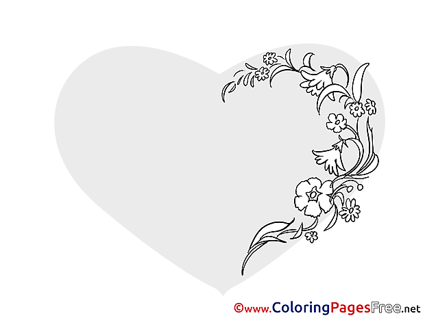 Image Flowers Heart free Valentine's Day Coloring Sheets