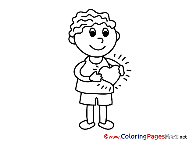 Kid Heart free Colouring Page Valentine's Day
