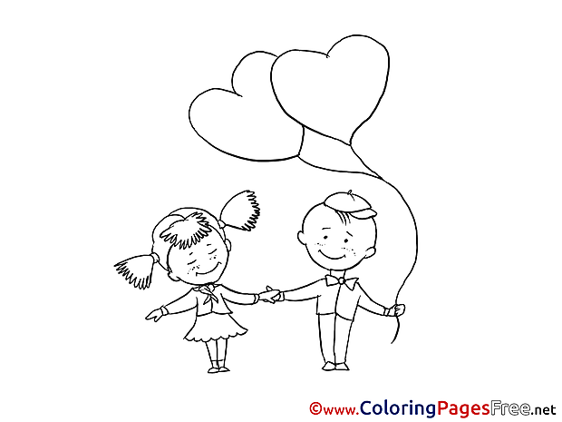 Kids Balloon Colouring Page Valentine's Day free