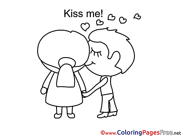 Kiss Me Colouring Page Valentine's Day free