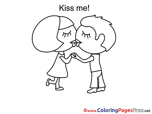 Kiss Me Kids Valentine's Day Coloring Page