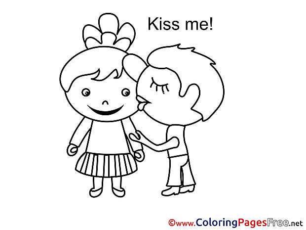 Kiss Me Valentine's Day Coloring Pages download