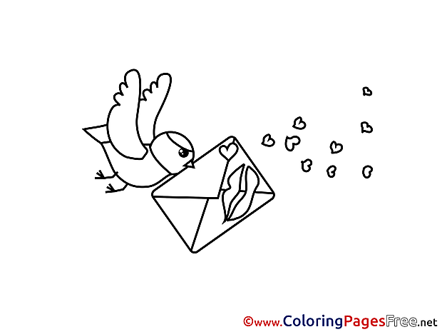 Letter Bird Valentine's Day Coloring Pages download