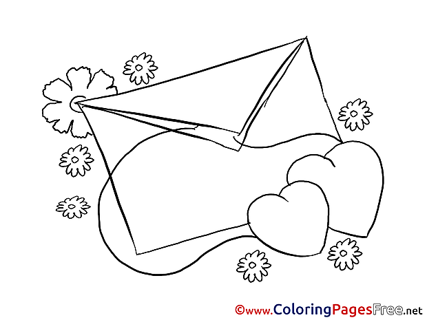 Letter Hearts Children Valentine's Day Colouring Page
