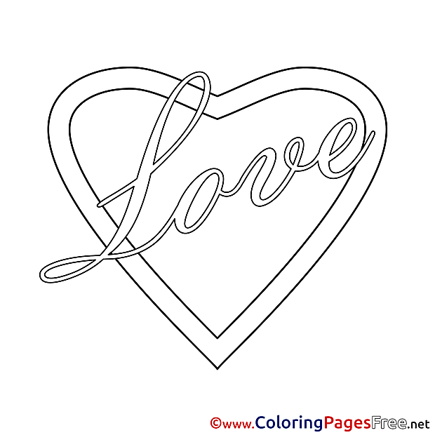 Love free Colouring Page Valentine's Day