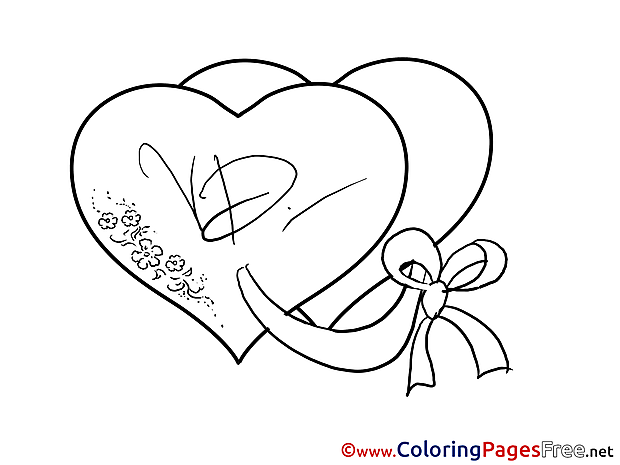 Love Heats Valentine's Day Colouring Sheet free