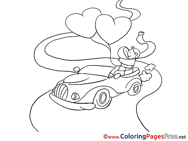Lovers Car Love Valentine's Day free Coloring Pages