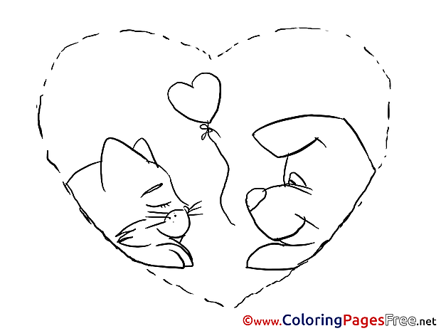 Pets Heart Coloring Sheets Valentine's Day free