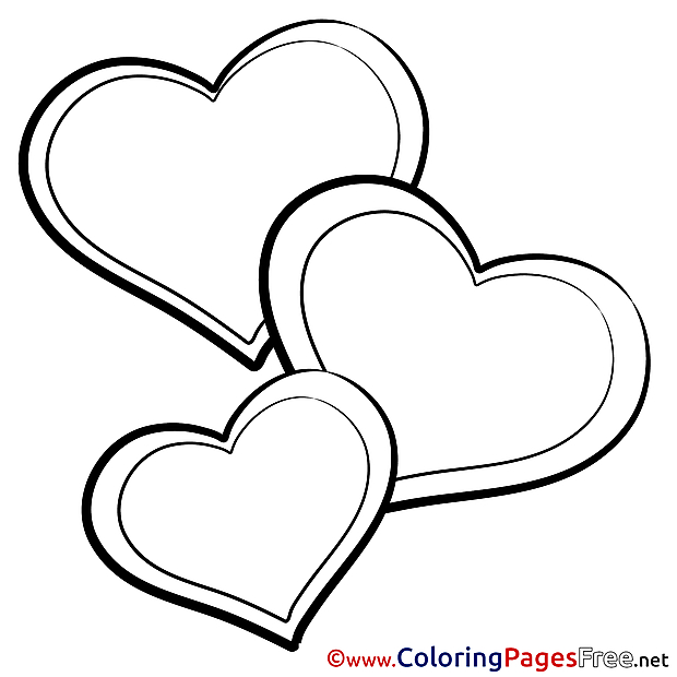 Picture Hearts Valentine's Day Colouring Sheet free