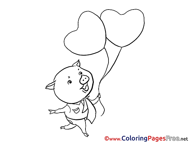 Pig Balloons Kids Valentine's Day Coloring Pages