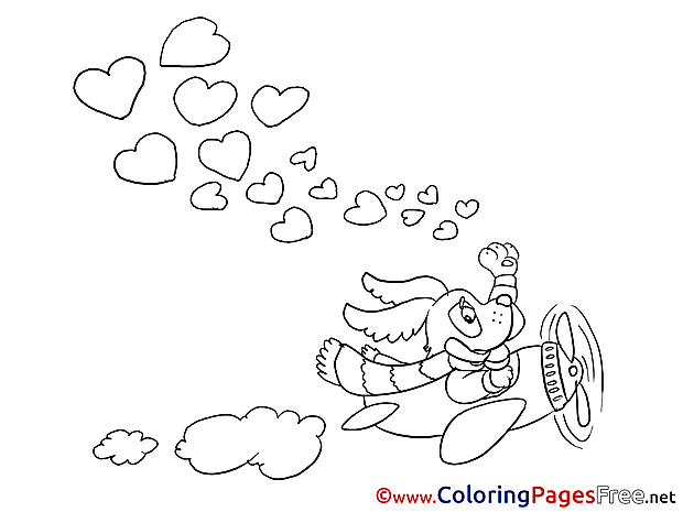 Plane Coloring Sheets Valentine's Day Hearts free