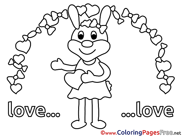 Printable Bunny Heart Valentine's Day Coloring Sheets