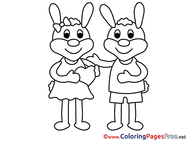 Rabbits Valentine's Day Colouring Sheet free
