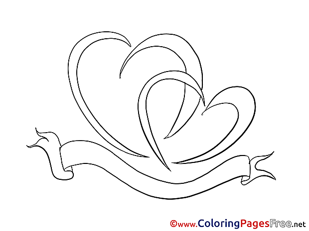 Ribbon Hearts Coloring Sheets Valentine's Day free