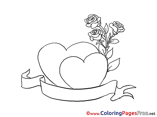 Roses Hearts Children Valentine's Day Colouring Page