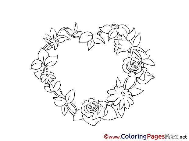 Roses Wreath Valentine's Day Colouring Sheet free