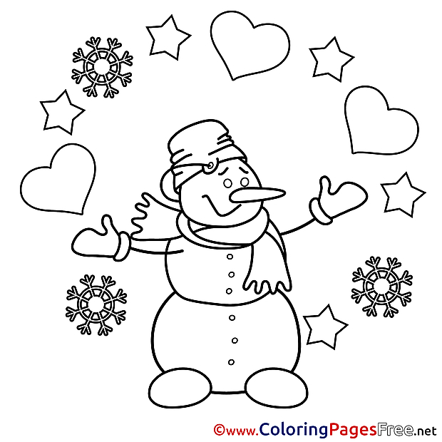 Snowman Colouring Sheet download Valentine's Day