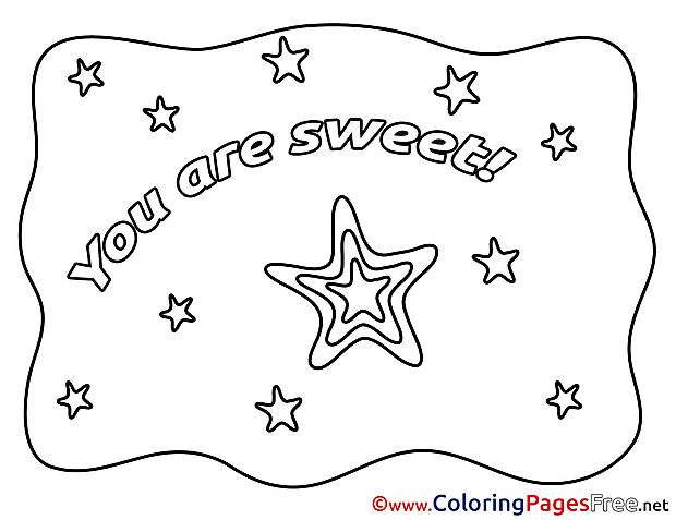 Star You Are Sweet printable Valentine's Day Coloring Sheets
