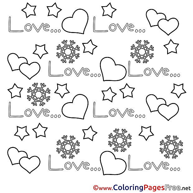 Stars Hearts Colouring Sheet download Valentine's Day