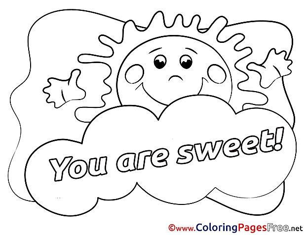 Sun You Are Sweet Coloring Sheets Valentine's Day