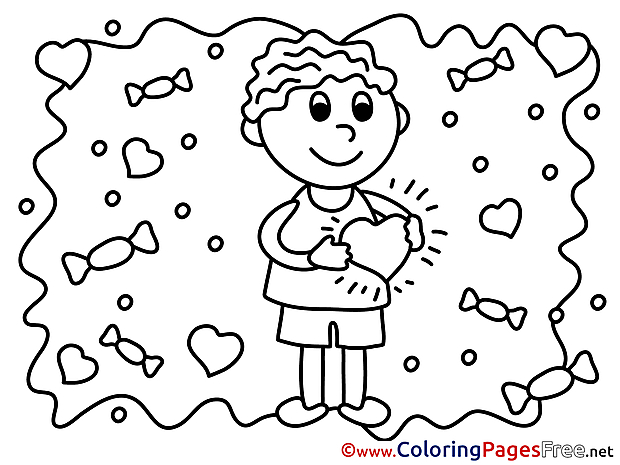 Valentine's Day Boy Colouring Page  free