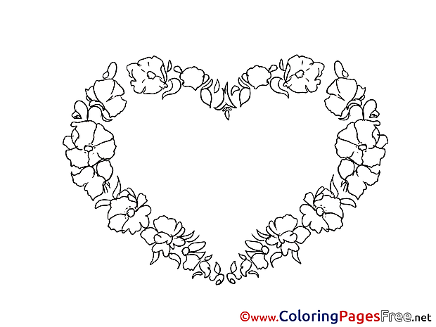 Wreath Flowers printable Coloring Pages Valentine's Day