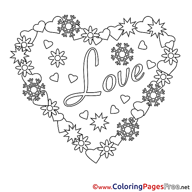 Wreath Heart printable Valentine's Day Coloring Sheets