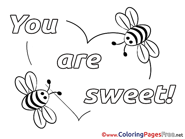 You Are Sweet Valentine's Day Colouring Sheet free