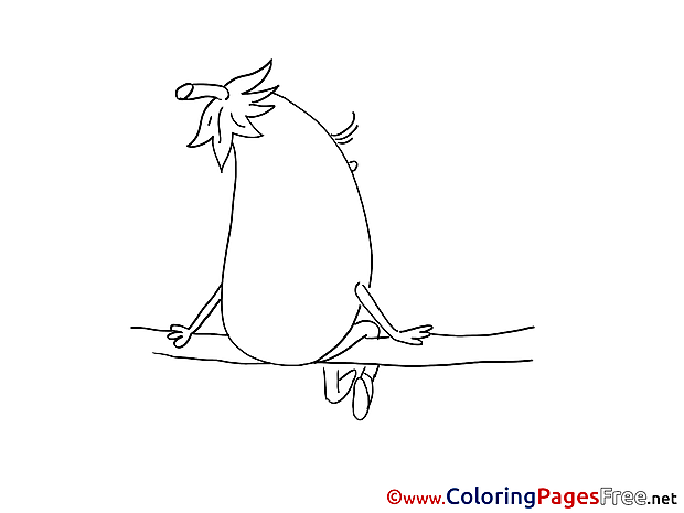 Eggplant on Branch Coloring Pages for free