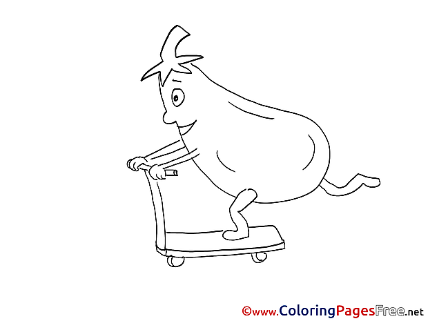 Eggplant on Scooter printable Coloring Sheets download