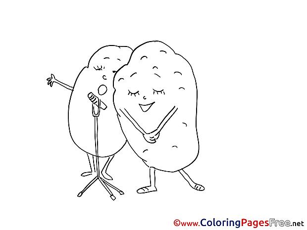 Potatos sing Children download Colouring Page