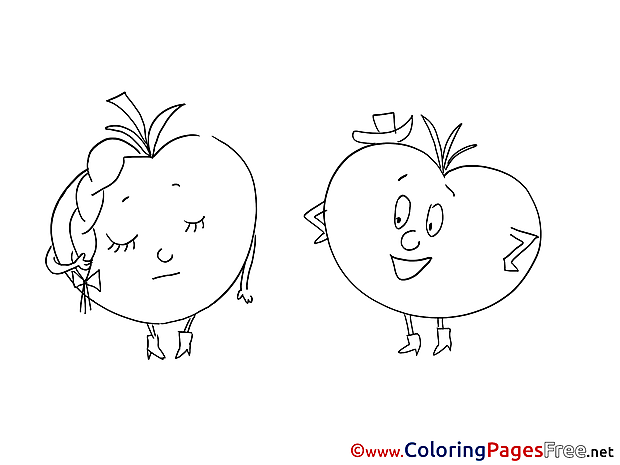 Tomatos Kids free Coloring Page