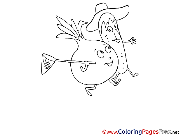 Vegetables free printable Coloring Sheets