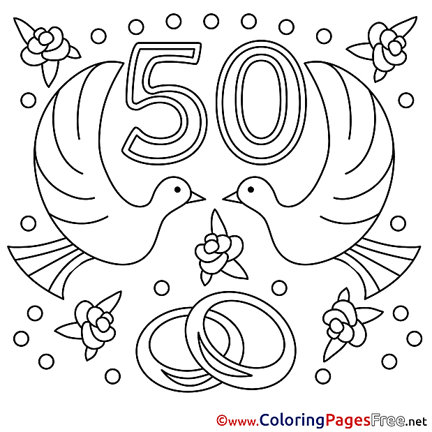 50 Years Wedding printable Coloring Pages for free