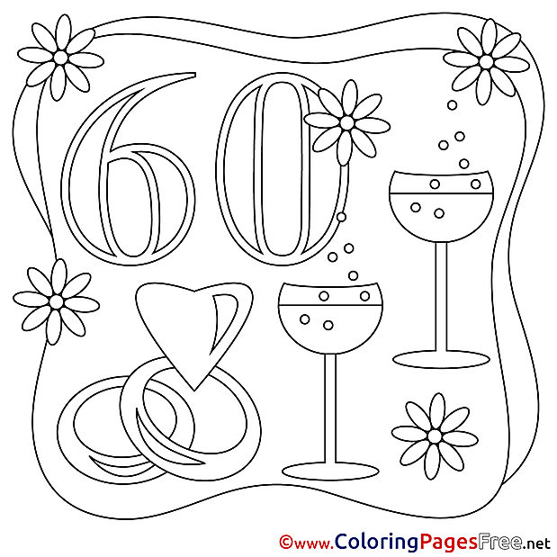 60 Years Wedding  Coloring Pages download for free