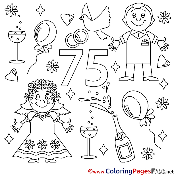 75 Years Wedding free Colouring Page  download