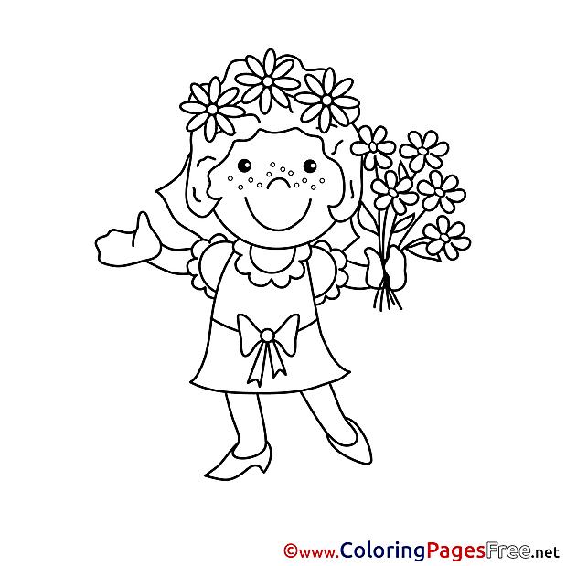 Bouquet Bride download printable Coloring Pages