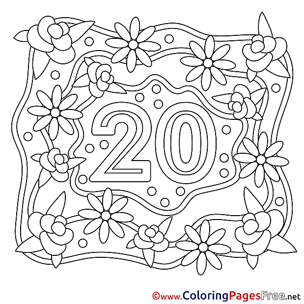 Flowers 20 Years Wedding Colouring Page printable free