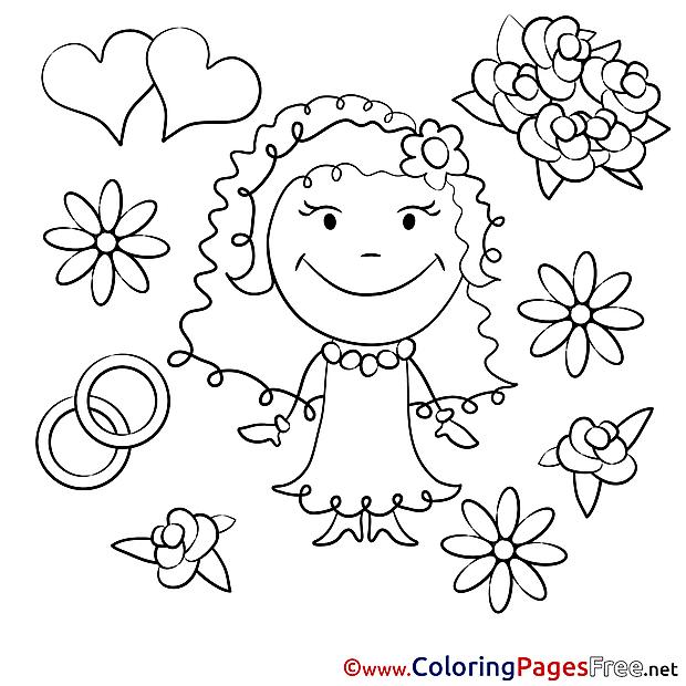 Flowers Bride Wedding free printable Coloring Sheets