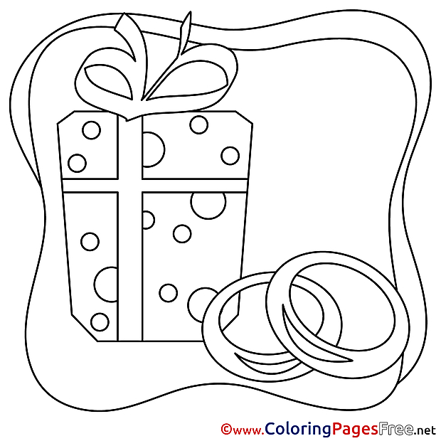 Gift Wedding free Coloring Page for Kids