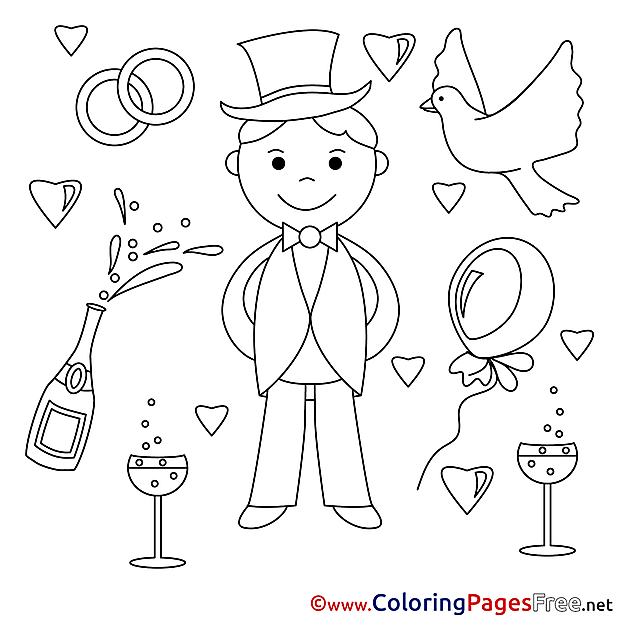 Groom Wedding Coloring Pages for free